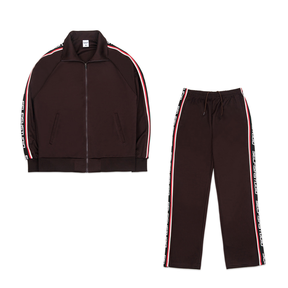 LOGO TAPE TRACK SUIT SET (BROWN)